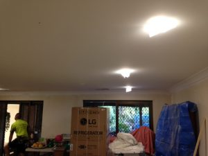 dropped ceiling look in living room