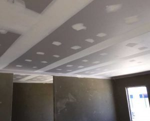 plasterboard ceiling repair on process